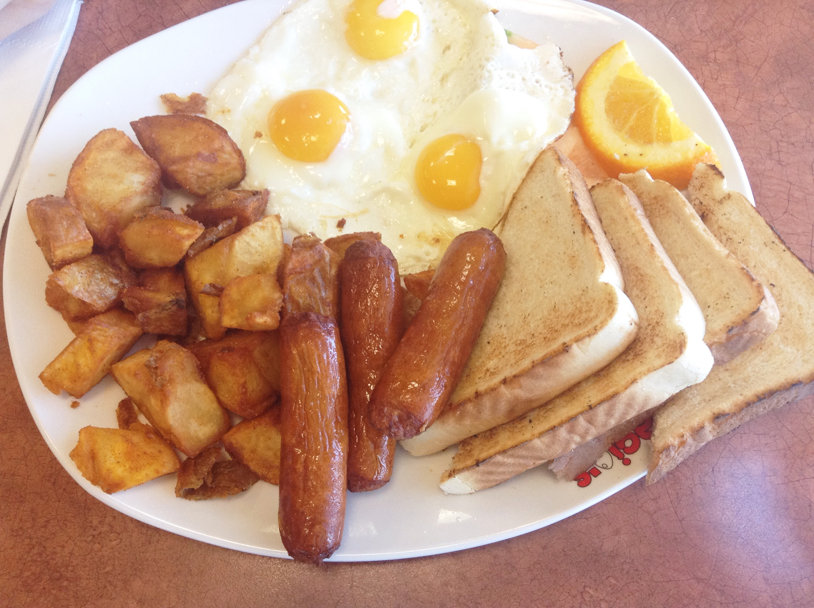 "Panagio's - ""Usual Suspects"" - 3 Eggs, 3 Sausages, Fruits, Homefries and Toast - HELLOTERI"