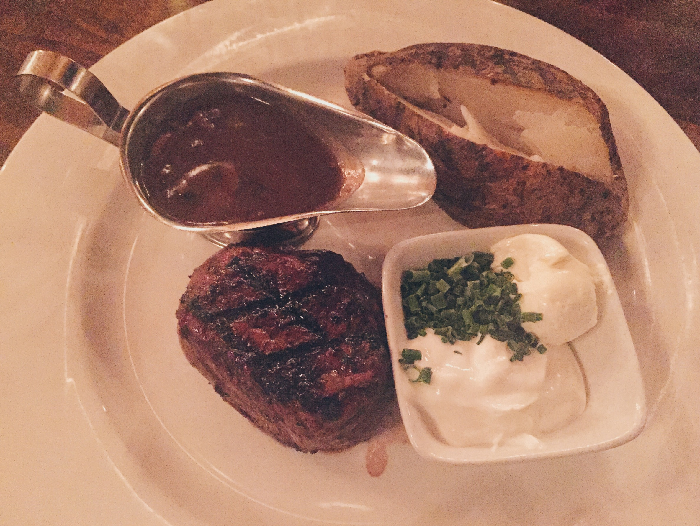 Smiths Bro Steakhouse - 7oz Steak with Mushroom Cabernet Sauce with Loaded Baked Potato - HELLOTERI